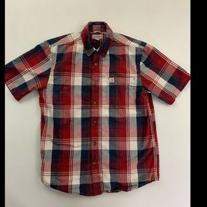 Carhartt Men's Red Plaid Short Sleeve Button Down